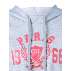 Graphic Cropped Hoodie - GRAY ONE SIZE