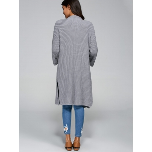 Longline Open Cardigan - GRAY ONE SIZE