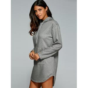 Drawstring Kangaroo Pocket Hoodie Dress - GRAY 2XL