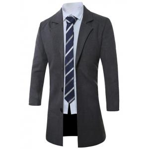 Lapel Single-Breasted Lengthen Wool Coat - DEEP GRAY XL