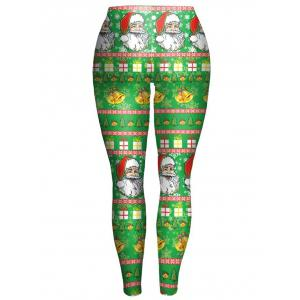 Bodycon Christmas Leggings - GREEN XL