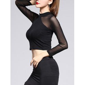 Mesh Trim Sheer Crop Top - BLACK L