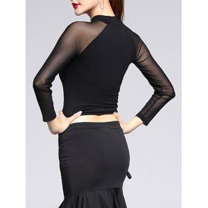 See-Through Trim Sheer Long Sleeve Crop Top - BLACK 2XL