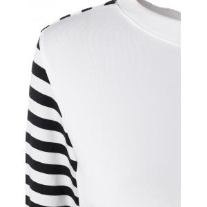 Long Sleeve Striped T-Shirt With Elbow Patch - WHITE AND BLACK XL