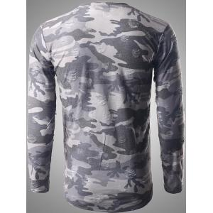 Round Neck Long Sleeve Distressed Camo T-Shirt - GRAY 2XL