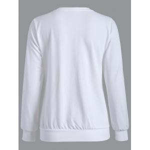 Crew Neck Pompom Cherry Sweatshirt - WHITE L