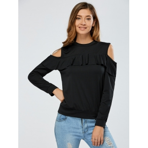 Cold Shoulder Flounce Overlay Sweatshirt - BLACK XL