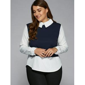 Plus Size Stripe Color Block Faux Twinset Shirt -