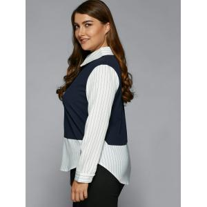 Plus Size Stripe Color Block Faux Twinset Shirt - PURPLISH BLUE 5XL
