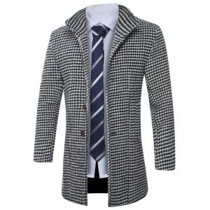 Lapel Single-Breasted Houndstooth Wool Coat -