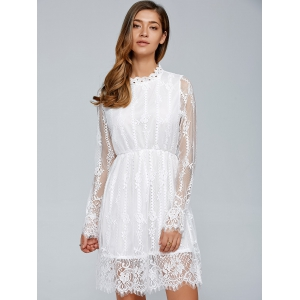 Long Sleeves See-Through Lace Dress -