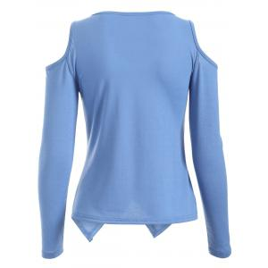 Cold Shoulder Long Sleeve T-Shirt - BLUE XL