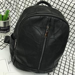 Zippers Quilted PU Leather Backpack -