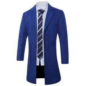 Lapel Single-Breasted Lengthen Pocket Wool Coat - SAPPHIRE BLUE XL