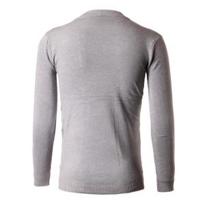 Slim-Fit Crew Neck Embroidery Sweater - GRAY XL