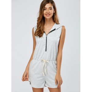 Zip-Up Tied Bowknot Hooded Romper - GRAY XL