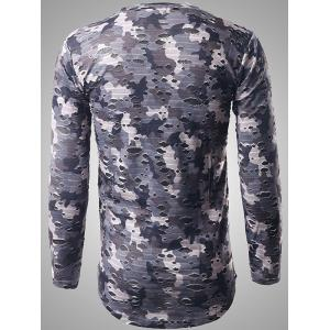 Long Sleeve Destroyed Camouflage T-shirt - GRAY 2XL
