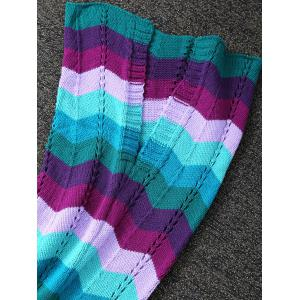 Colorful Wave Stripe Pattern Knitted Mermaid Tail Blanket - COLORMIX