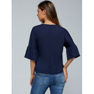 Round Neck Flare Sleeves T-Shirt -