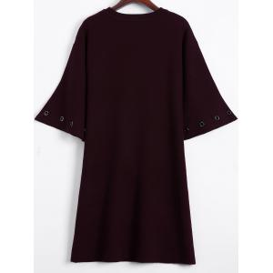 Bell Sleeve Loose and Fitting Knitted Dress - WINE RED ONE SIZE
