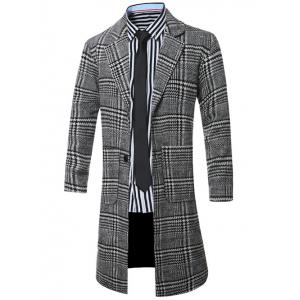 Lapel Single-Breasted Houndstooth Splicing Wool Coat - BLACK 4XL