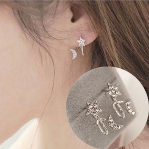 Rhinestone Star Moon Ear Cuffs - SILVER