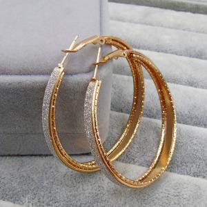 Dull Polished Circle Hoop Earrings - GOLDEN