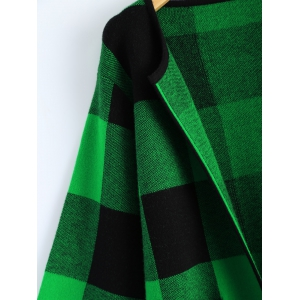 Open Front Checkered Pattern Pocket Coat -