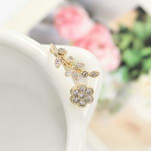 Rhinestone Tree Leaf Floral Cuff Ring -