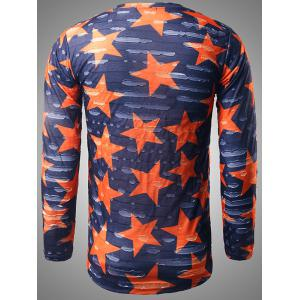 Long Sleeve Star Print Destroyed T-Shirt - BLUE 2XL