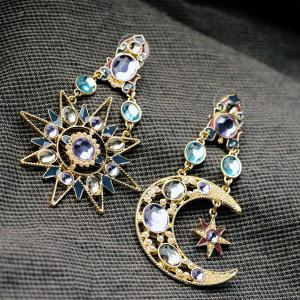 Asymmetric Rhinestone Sun Moon Earrings -