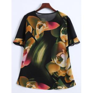 Flounce Sleeves Floral Chiffon T-Shirt -