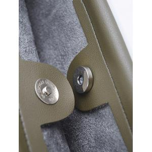 PU Leather Magnetic Metal Handle Tote Bag - ARMY GREEN