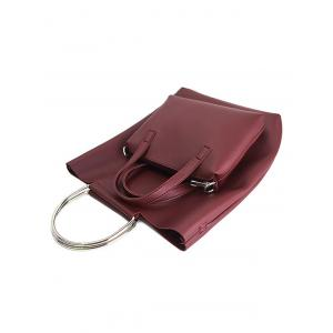 PU Leather Magnetic Metal Handle Tote Bag -
