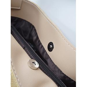 Splicing Corduroy Magnetic Closure Shoulder Bag -