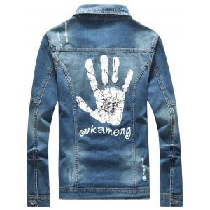Frayed Button Up Hand Printed Denim Jacket -