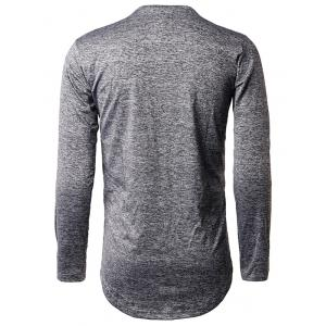 Long Sleeve Heather Distressed T-Shirt - DEEP GRAY XL