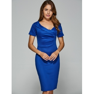 V Neck Short Sleeve Knee Length Sheath Dress -
