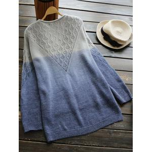V Neck Ombre High Low Sweater -