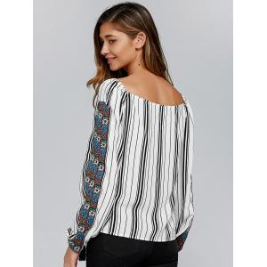 Embroidery Trim Striped Blouse -