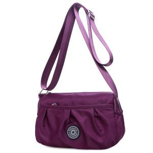 Nylon Wrinkle Zipper Crossbody Bag -
