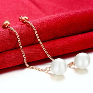 Faux Pearl Chain Earrings - ROSE GOLD