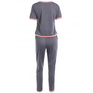 Pockets Self Tie Pants and Pullover T-Shirt Top -