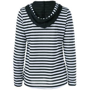 Striped Floral Pullover Hoodie -