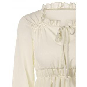Puff Sleeves Tied-Up Ruffled Blouse -