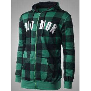 Zip-Up Letter Print Plaid Green Hoodie - GREEN 2XL