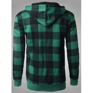 Zip-Up Letter Print Plaid Green Hoodie -