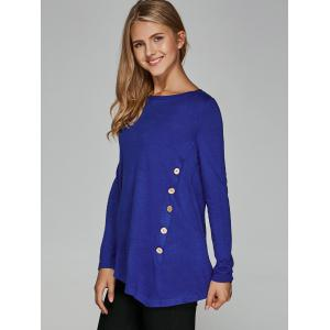 Inclined Buttoned Asymmetrical Blouse -
