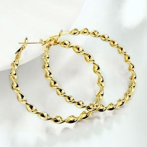 Twisted Circle Hoop Earrings - GOLDEN
