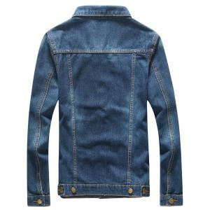 Faux Pocket Front Button Up Denim Jacket -